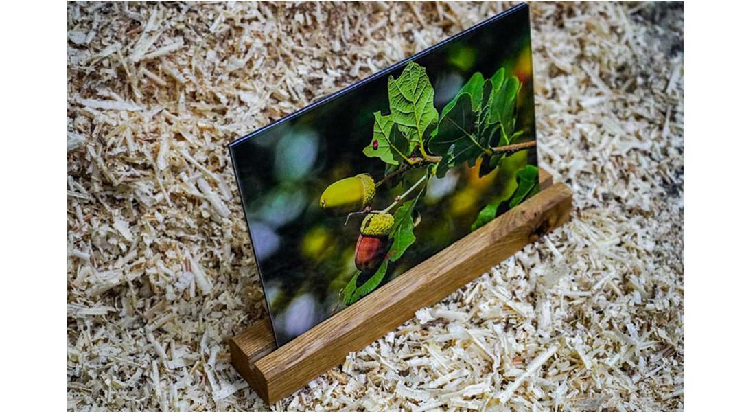 Fotoaufsteller aus Eiche Naturholz